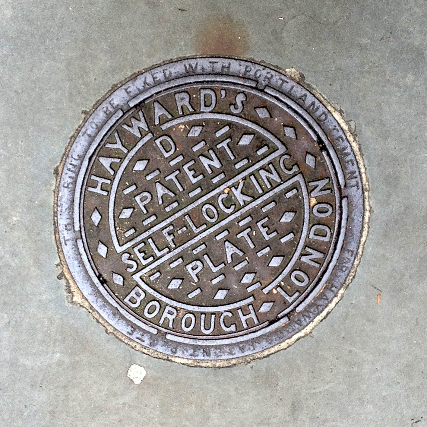 Manhole Cover, London - Cast iron, inscribed with Hayward's Borough London, D Patent Self Locking Plate