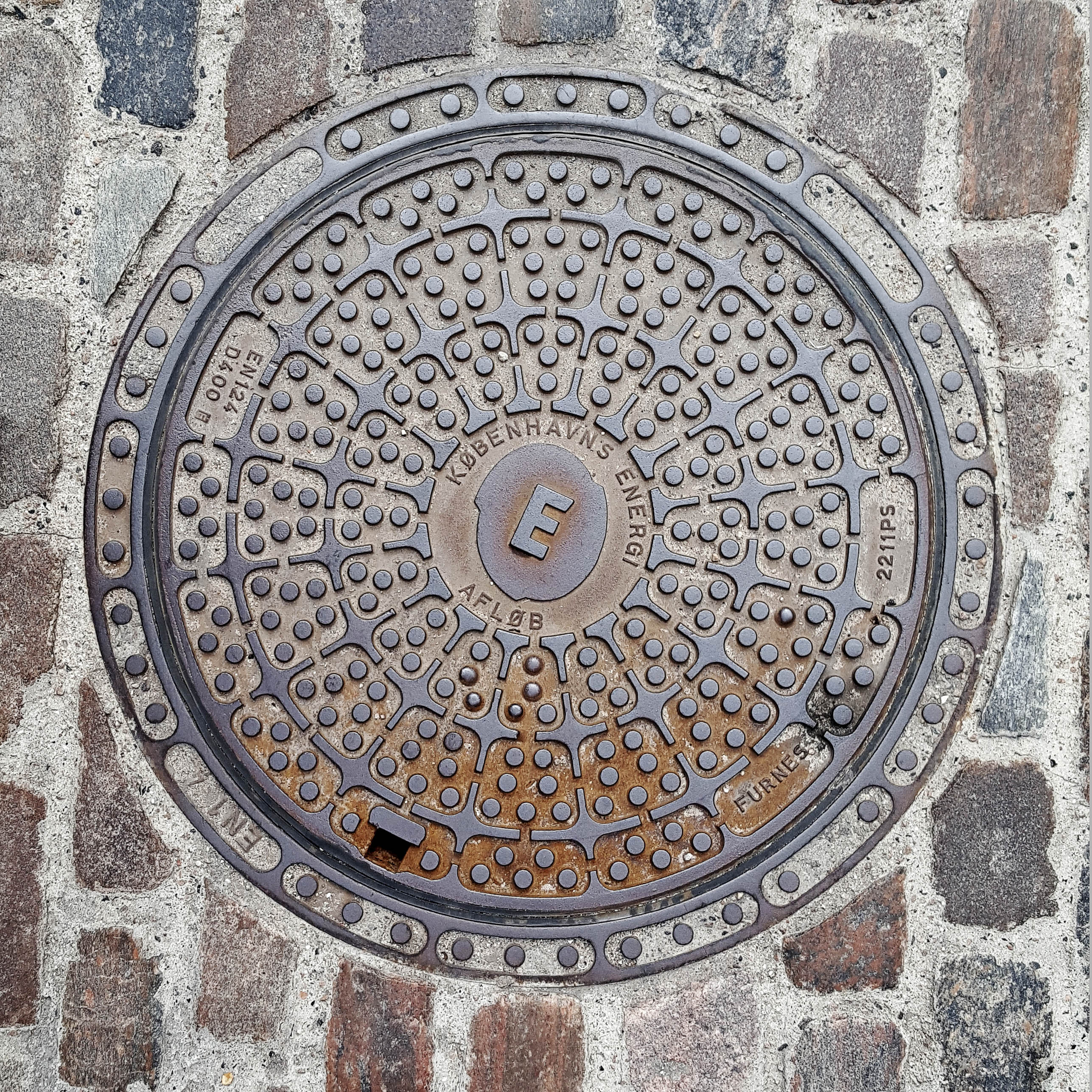 Manhole Cover, Copenhagen - Cast iron with pattern of small raised circles